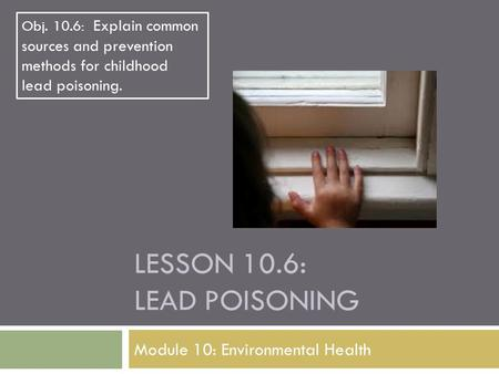 LESSON 10.6: LEAD POISONING Module 10: Environmental Health Obj. 10.6: Explain common sources and prevention methods for childhood lead poisoning.