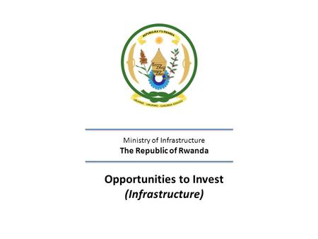 Opportunities to Invest (Infrastructure)