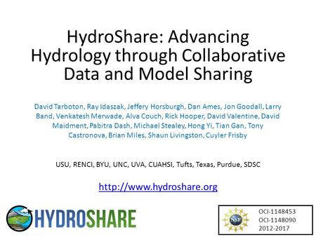 HydroShare: Advancing Hydrology through Collaborative Data and Model Sharing David Tarboton, Ray Idaszak, Jeffery Horsburgh, Dan Ames, Jon Goodall, Larry.