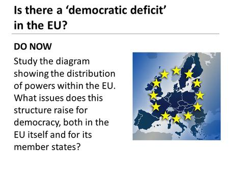 DO NOW Study the diagram showing the distribution of powers within the EU. What issues does this structure raise for democracy, both in the EU itself and.