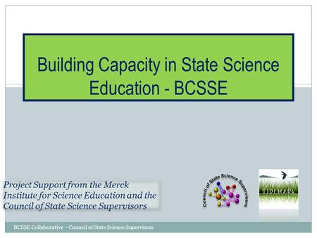 BCSSE Collaborative – Council of State Science Supervisors Building Capacity in State Science Education - BCSSE Project Support from the Merck Institute.