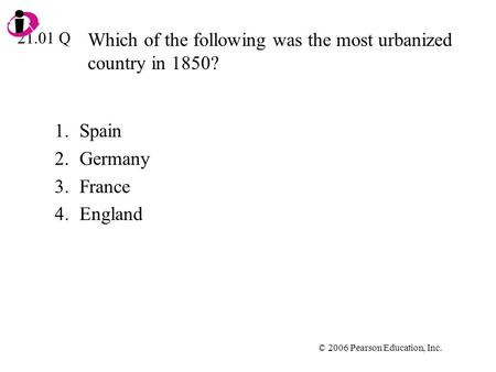 Which of the following was the most urbanized country in 1850?