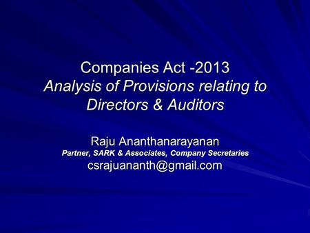 Notes on clauses companies act 2013