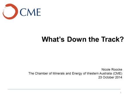 What's Down the Track? 1 Nicole Roocke The Chamber of Minerals and Energy of Western Australia (CME) 23 October 2014.
