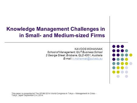 Knowledge Management Challenges in in Small- and Medium-sized Firms