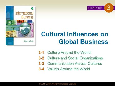 © 2011 South-Western | Cengage Learning Cultural Influences on Global Business 3-1 3-1Culture Around the World 3-2 3-2Culture and Social Organizations.