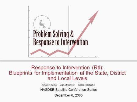 Response to Intervention (RtI): Blueprints for Implementation at the State, District and Local Levels Sharon Kurns Diane Morrison George Batsche NASDSE.