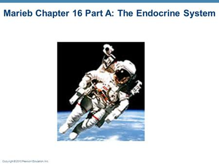 Copyright © 2010 Pearson Education, Inc. Marieb Chapter 16 Part A: The Endocrine System.