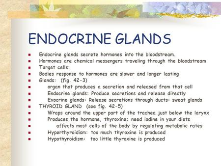 ENDOCRINE GLANDS Endocrine glands secrete hormones into the bloodstream. Hormones are chemical messengers traveling through the bloodstream Target cells: