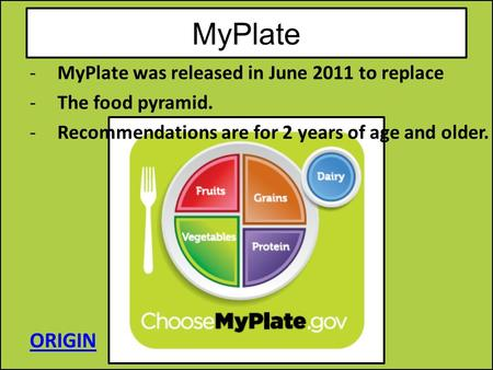 MyPlate ORIGIN MyPlate was released in June 2011 to replace