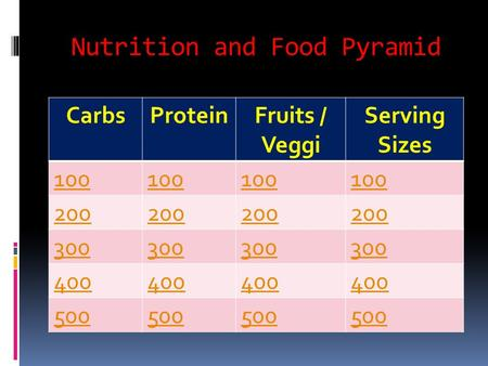 Nutrition and Food Pyramid CarbsProteinFruits / Veggi Serving Sizes 100 200 300 400 500.