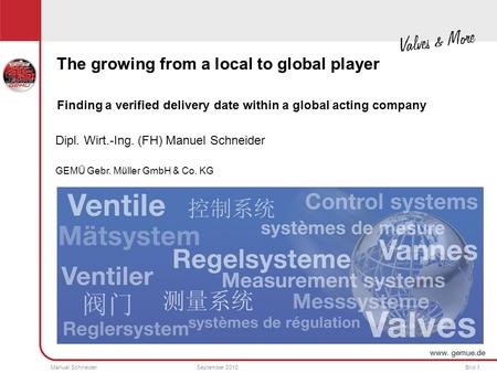 Manuel SchneiderSeptember 2010Bild 1 The growing from a local to global player Finding a verified delivery date within a global acting company Dipl. Wirt.-Ing.