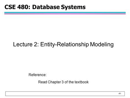 1 CSE 480: Database Systems Lecture 2: Entity-Relationship Modeling Reference: Read Chapter 3 of the textbook.