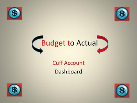 Budget to Actual Cuff Account Dashboard. Definition of Cuff Accounting: A term used to describe single entry accounting methods. Single entry accounting.
