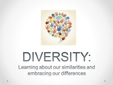 Diversity Knowing people's differences & accepting them Respecting others for who they are Learning about each others lives Clothing styles LanguagesFoods.