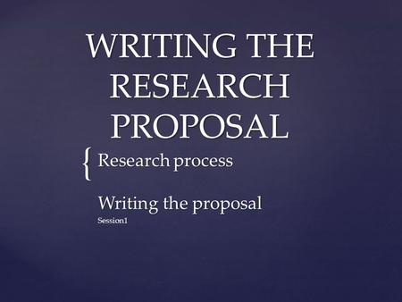 proposal for research project