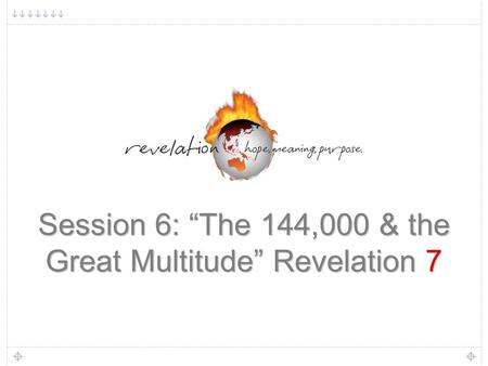 "1 Session 6: ""The 144,000 & the Great Multitude"" Revelation 7."