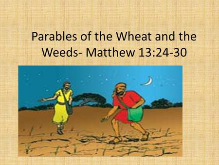 parable of wheat and weeds 4th and 5th graders in sunday school created this video to tell the parable of the weeds skip navigation the parable of weeds among the wheat.