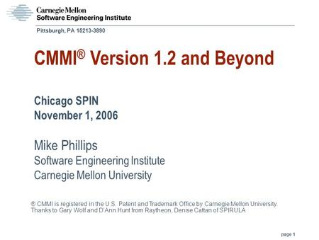 CMMI® Version 1.2 and Beyond