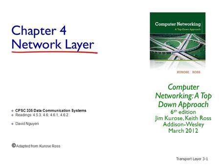 Transport Layer 3-1 Chapter 4 Network Layer Computer Networking: A Top Down Approach 6 th edition Jim Kurose, Keith Ross Addison-Wesley March 2012  CPSC.