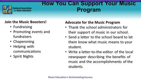 Music Education Orchestrating Success How You Can Support Your Music Program Join the Music Boosters! Fundraising Promoting events and fundraisers Chaperoning.