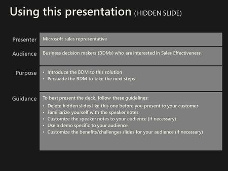 Using this presentation (HIDDEN SLIDE)