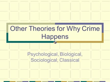 biological psychological factors crime Theories of crime: classical, biological, there are four basic theories of crime, and knowing and understanding each one is imperative for one to succeed in any legal profession whether one desires to become a lawyer, crime scene investigator, law enforcement officer, they will need to understand the different theories of crime.