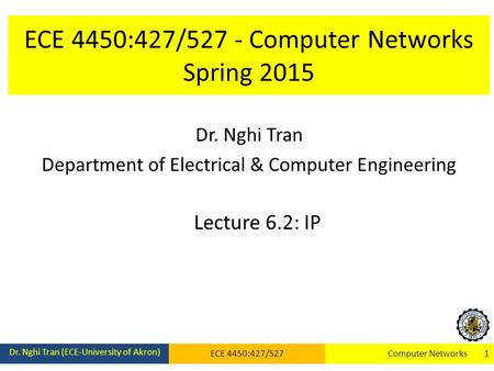 ECE 4450:427/527 - Computer Networks Spring 2015 Dr. Nghi Tran Department of Electrical & Computer Engineering Lecture 6.2: IP Dr. Nghi Tran (ECE-University.
