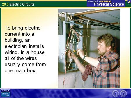 20.3 Electric Circuits To bring electric current into a building, an electrician installs wiring. In a house, all of the wires usually come from one main.
