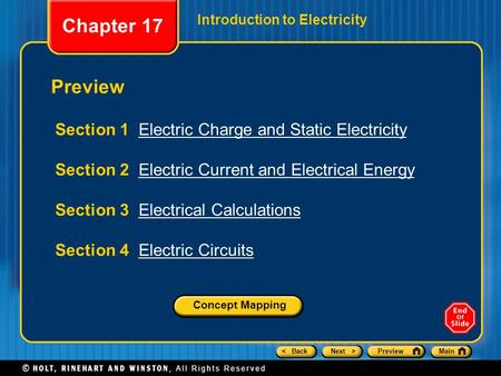 Chapter 17 Preview Section 1 Electric Charge and Static Electricity