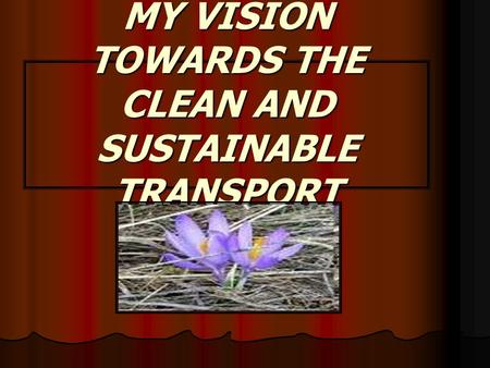 MY VISION TOWARDS THE CLEAN AND SUSTAINABLE TRANSPORT.