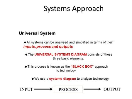 Systems Approach Universal System  We use a systems diagram to analyse technology.  All systems can be analysed and simplified in terms of their inputs,