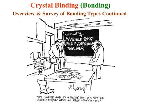 Crystal Binding (Bonding) Overview & Survey of Bonding Types Continued.