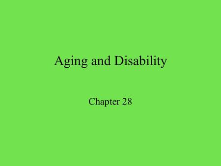 aging and disability material Library and archival preservation science accelerated aging is also used in library and archival preservation science in this context, a material, usually paper, is subjected to extreme conditions in an effort to speed up the natural aging process.