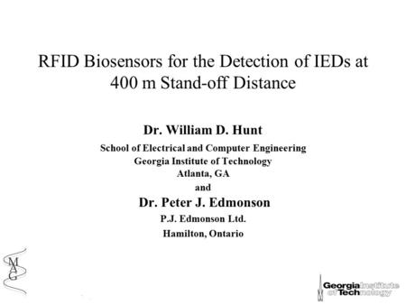 RFID Biosensors for the Detection of IEDs at 400 m Stand-off Distance