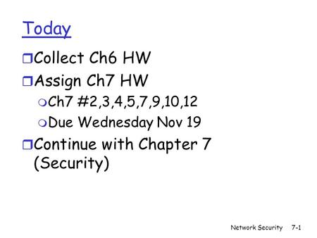 Network Security7-1 Today r Collect Ch6 HW r Assign Ch7 HW m Ch7 #2,3,4,5,7,9,10,12 m Due Wednesday Nov 19 r Continue with Chapter 7 (Security)