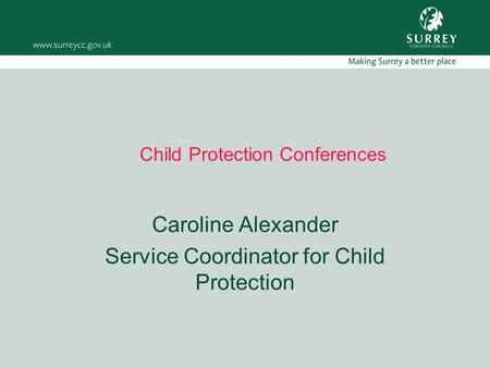 Child Protection Conferences Caroline Alexander Service Coordinator for Child Protection.