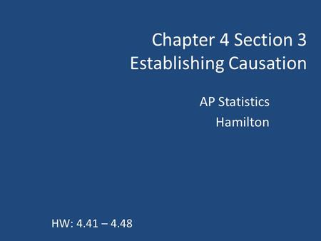 Chapter 4 Section 3 Establishing Causation
