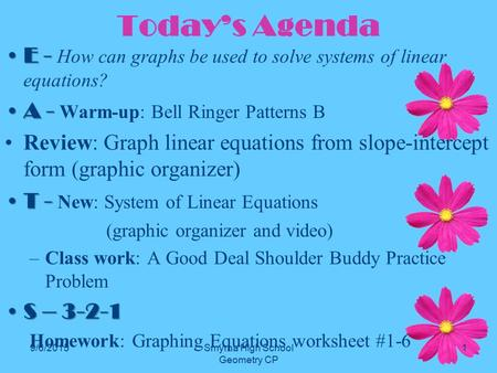 Today's Agenda E -E - How can graphs be used to solve systems of linear equations? A -A - Warm-up: Bell Ringer Patterns B Review: Graph linear equations.