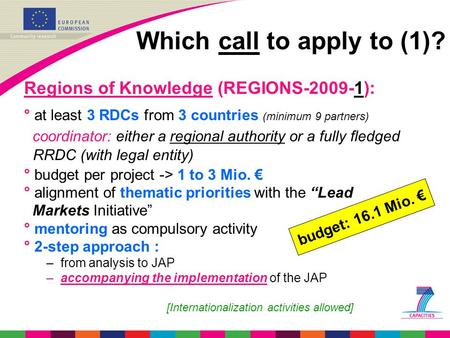 Which call to apply to (1)? Regions of Knowledge (REGIONS-2009-1): ° at least 3 RDCs from 3 countries (minimum 9 partners) coordinator: either a regional.