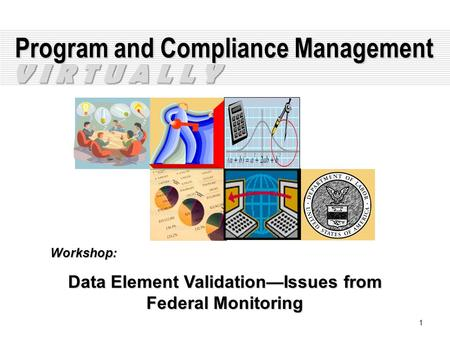 1 Program and Compliance Management Workshop: Data Element Validation—Issues from Federal Monitoring V I R T U A L L Y.