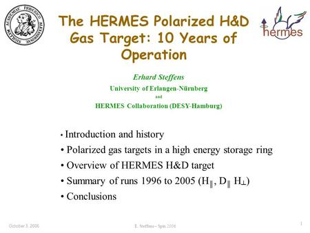 October 3, 2006E. Steffens – Spin 2006 1 The HERMES Polarized H&D Gas Target: 10 Years of Operation Erhard Steffens University of Erlangen-Nürnberg and.