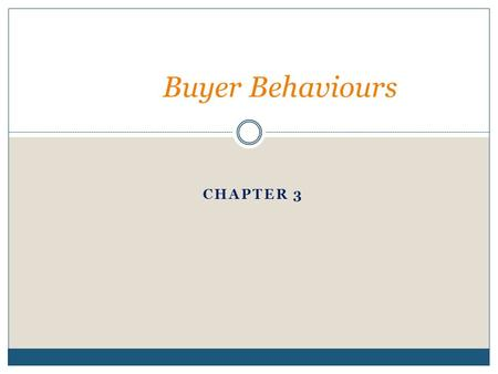 Buyer Behaviours Chapter 3.