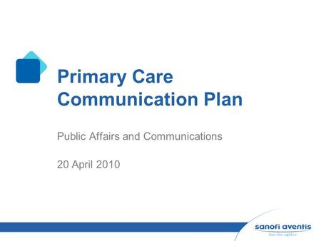 Primary Care Communication Plan