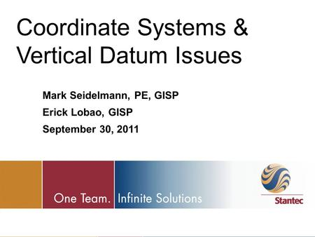 Coordinate Systems & Vertical Datum Issues
