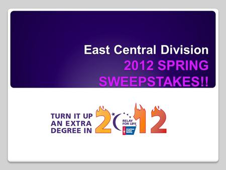 East Central Division 2012 SPRING SWEEPSTAKES!!. 212 Degrees… are you ready?? 212 Degrees… are you ready??