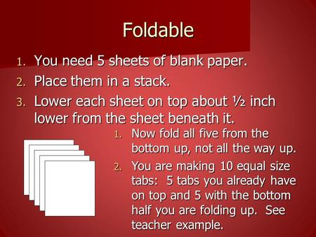 Foldable 1. You need 5 sheets of blank paper. 2. Place them in a stack. 3. Lower each sheet on top about ½ inch lower from the sheet beneath it. 1. Now.