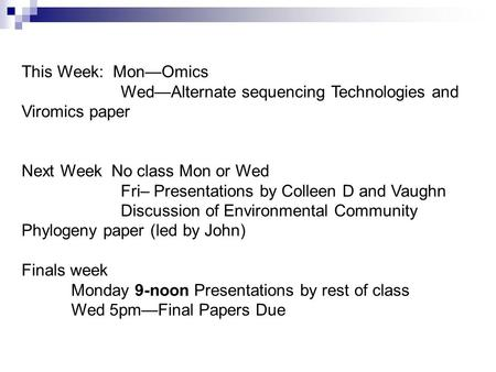 This Week: Mon—Omics Wed—Alternate sequencing Technologies and Viromics paper Next Week No class Mon or Wed Fri– Presentations by Colleen D and Vaughn.