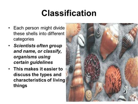 Classification Each person might divide these shells into different categories Scientists often group and name, or classify, organisms using certain guidelines.