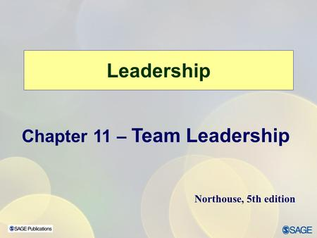 Leadership Chapter 11 – Team Leadership Northouse, 5th edition.